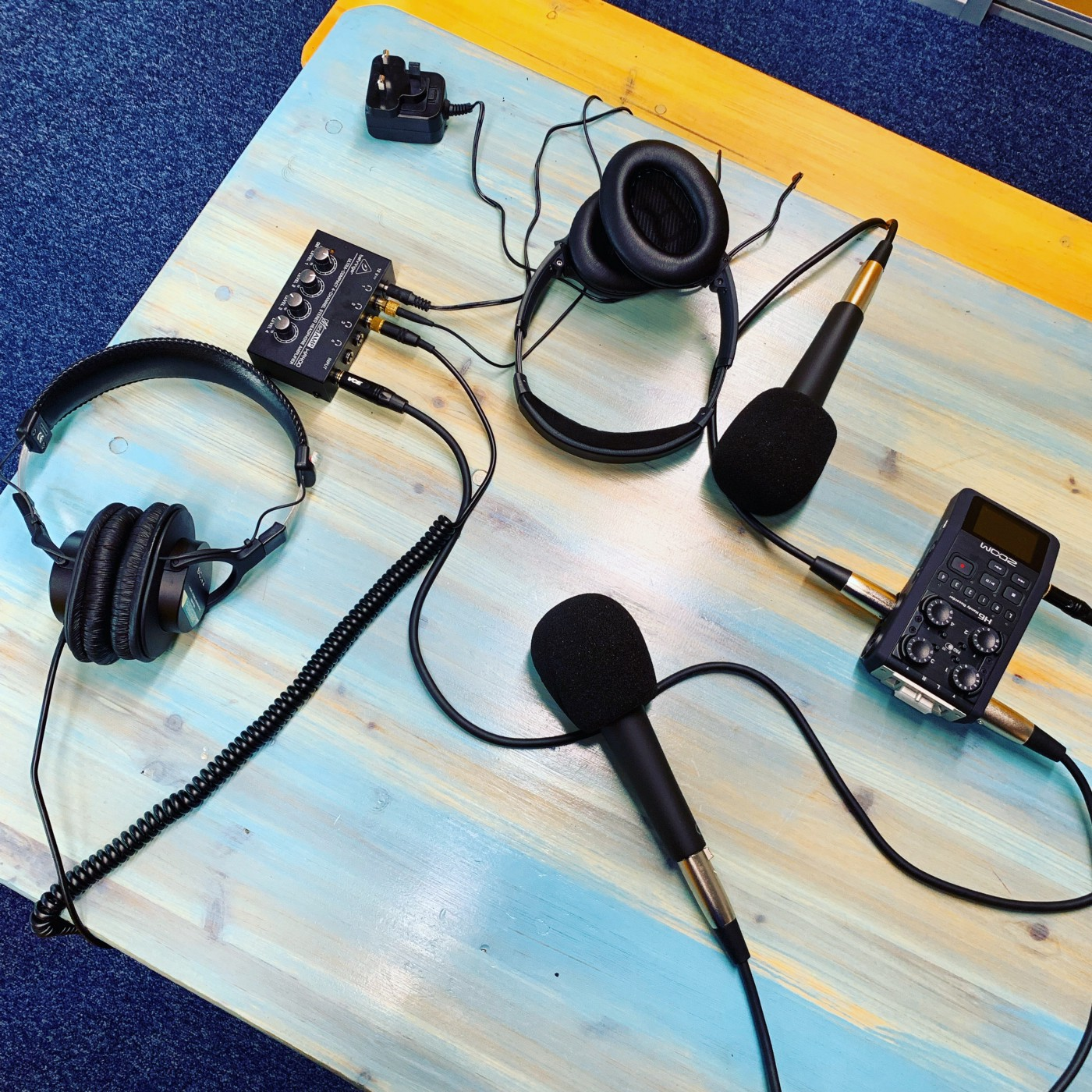 Podcasting equipment on a table, The Recruiting Future Podcast