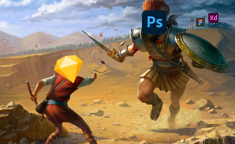 An illustration of David vs Goliath, the logo of Sketch superimposed on the head of David, the logo of PhotoShop superimposed on Goliath's.