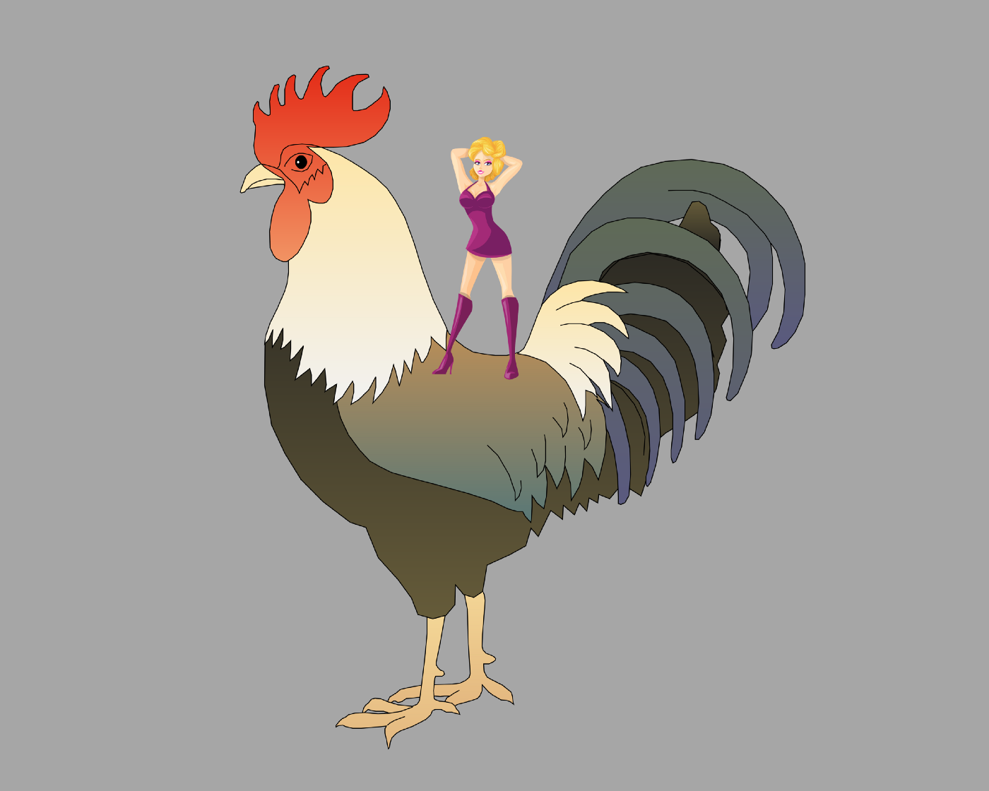 Woman standing on giant rooster