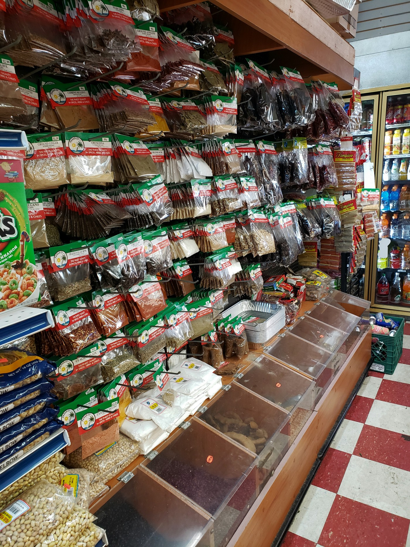 Dried spices and bulk section at La Raza 2