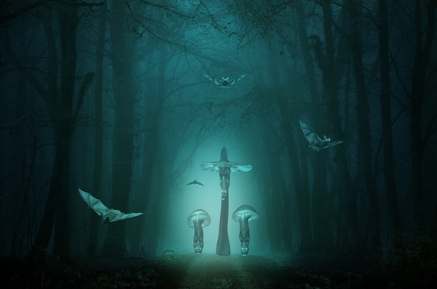 A fantastical image of an eerie forest with mushroom headed goblins.