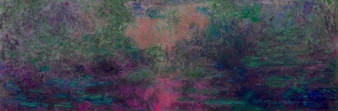 a semi-abstract painting of greens and pinks roughly resembling a water lily pond with water lilies reflecting a twilight sky