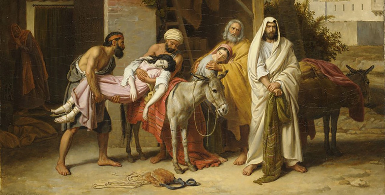 A painting depicting servants loading a woman's body onto a donkey, flanked by a priest in a white robe and an old man comforting his daughter.
