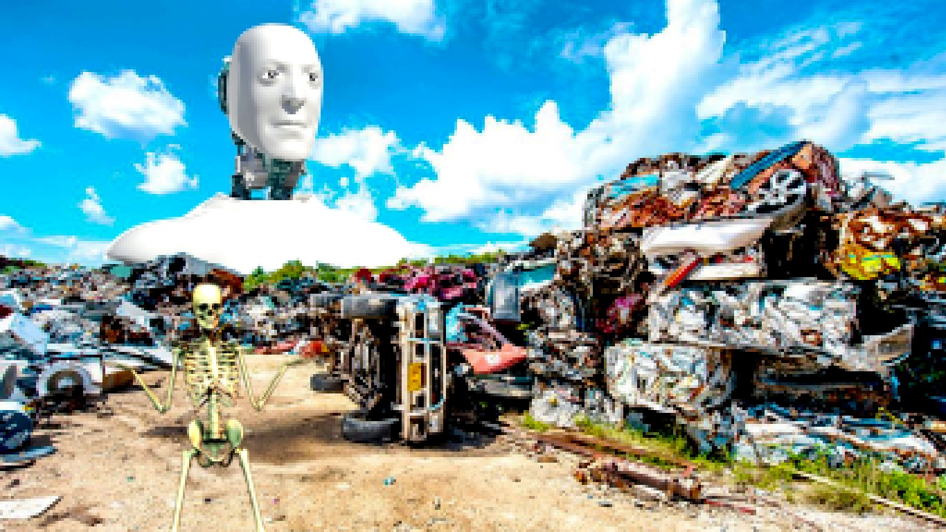 a mountain of garbage with a skeleton in the foreground representing humanity with a gigantic robot with a retarded look on its face representing god, or the elite class of capitalists who control our fate, whichever you prefer.