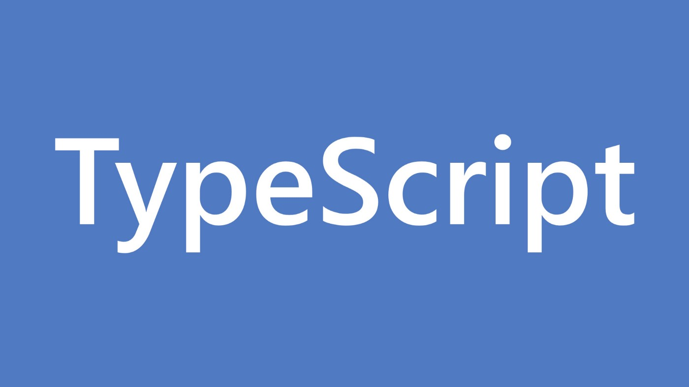 """The word """"TypeScript"""" against a blue background"""