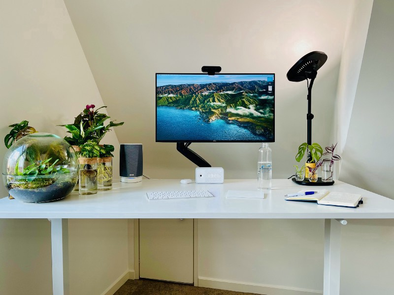 A picture of my desk in my home office.