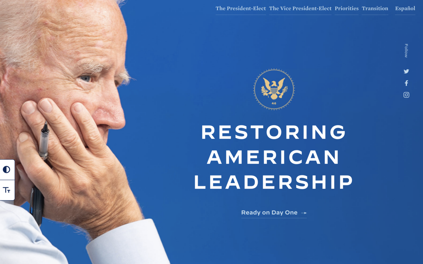 "Biden with headline that reads ""Restoring American Leadership"" on the Landing page of the Biden/Harris Transition 46 website."