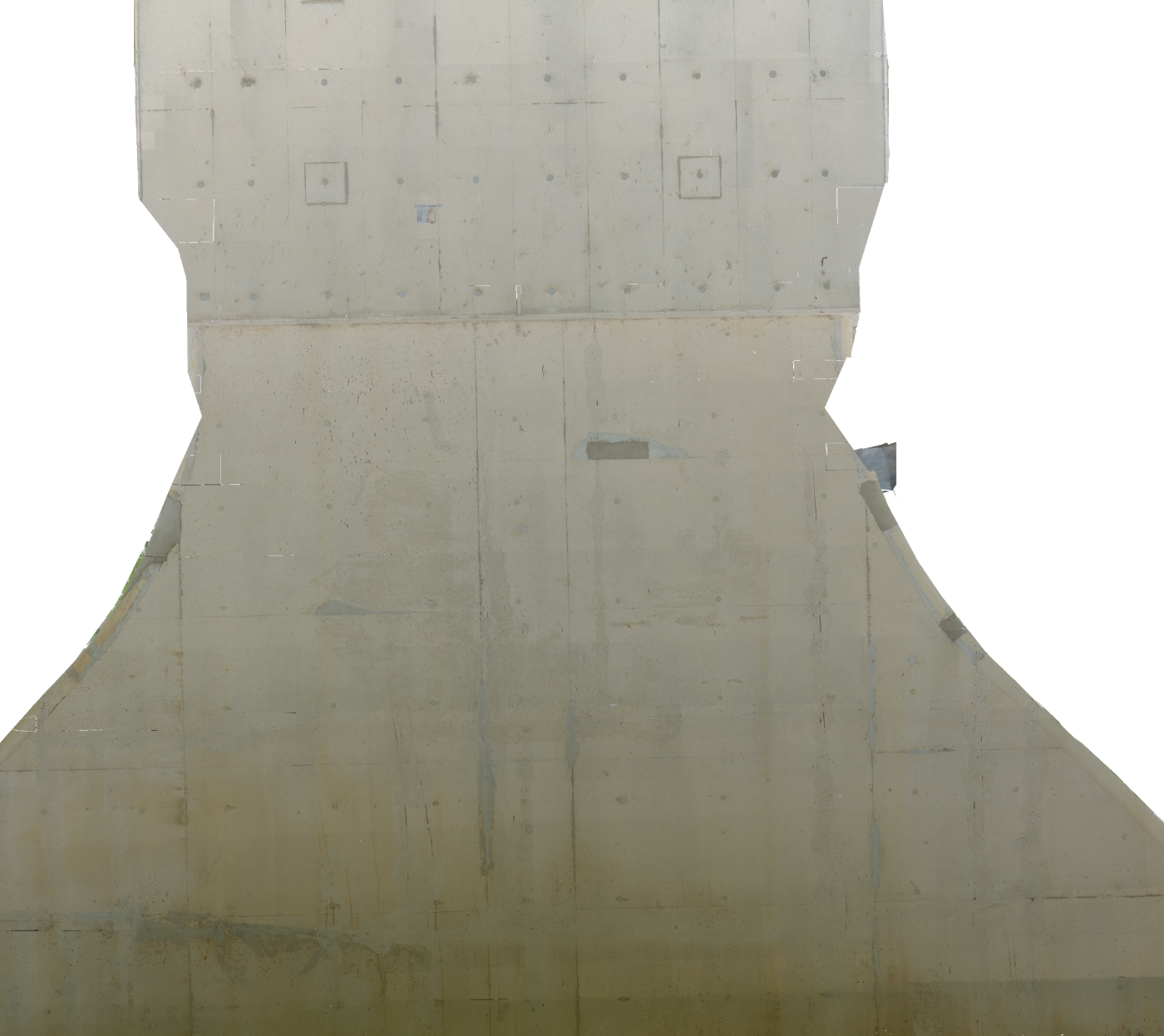 Side of a bridge support, for inspection of concrete defects