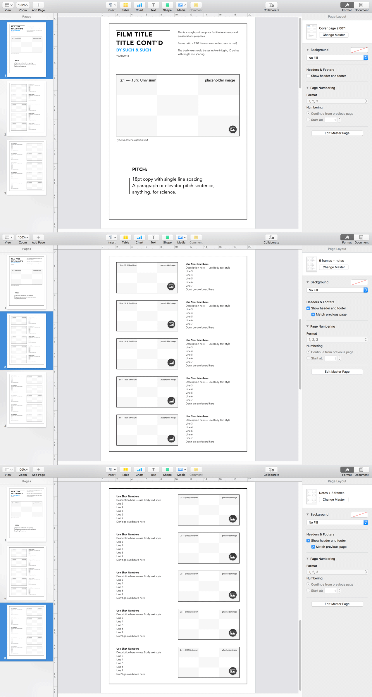 Apple Pages Templates for Storyboards & Presentations