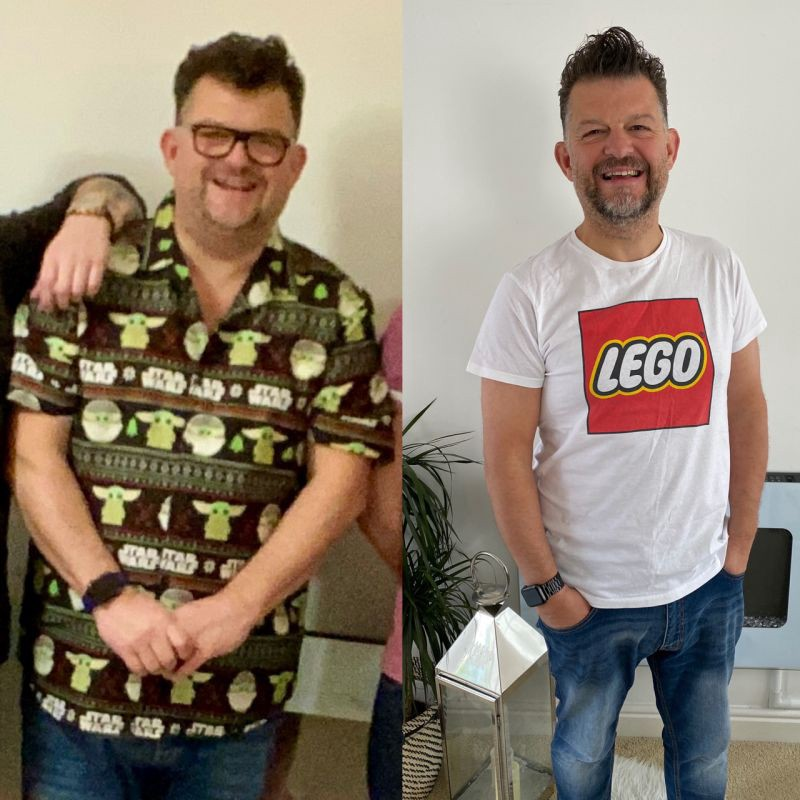 Two photos of the author side by side, showing a before and after of his weight loss.
