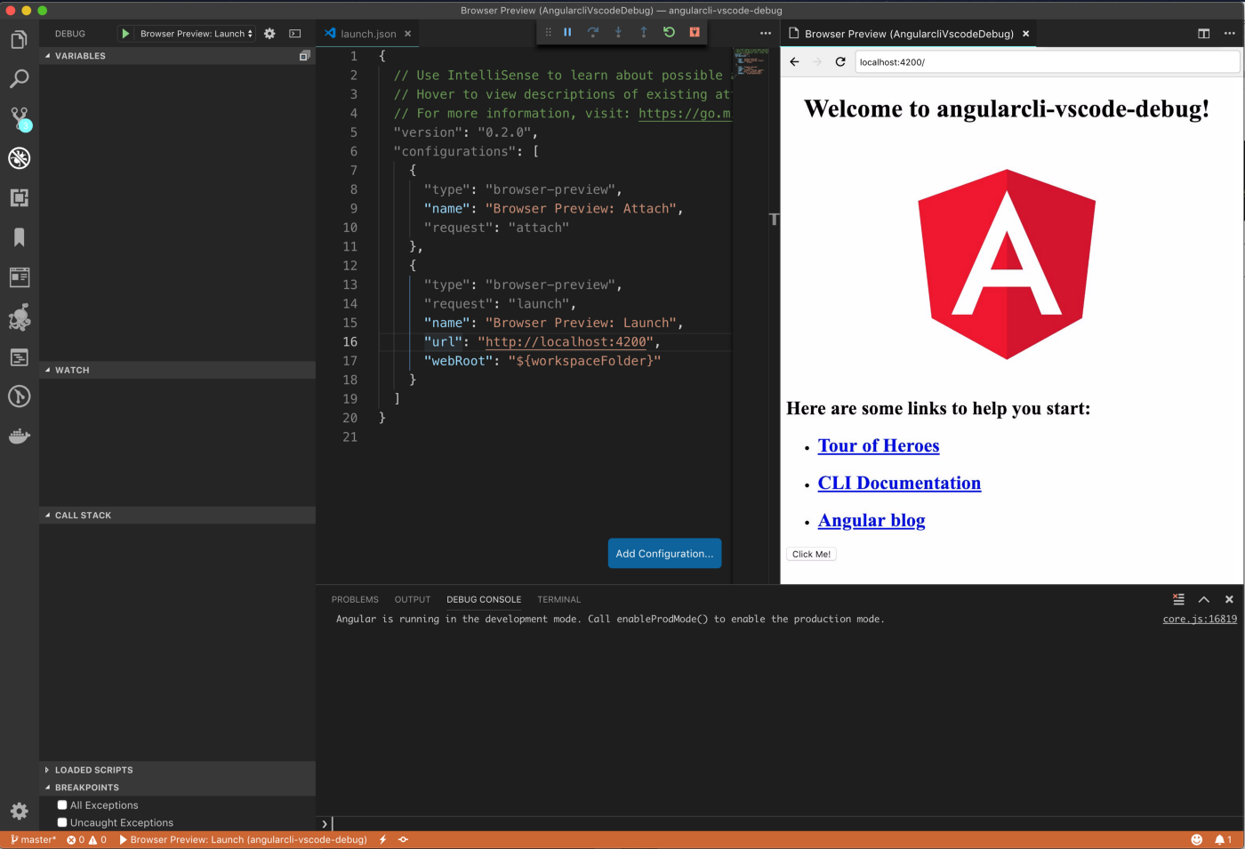 Browser Preview and Angular-CLI in action