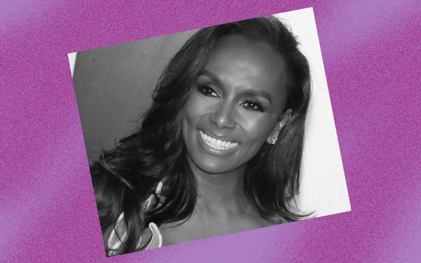 Black and white photo of Janet Mock against a violet background.