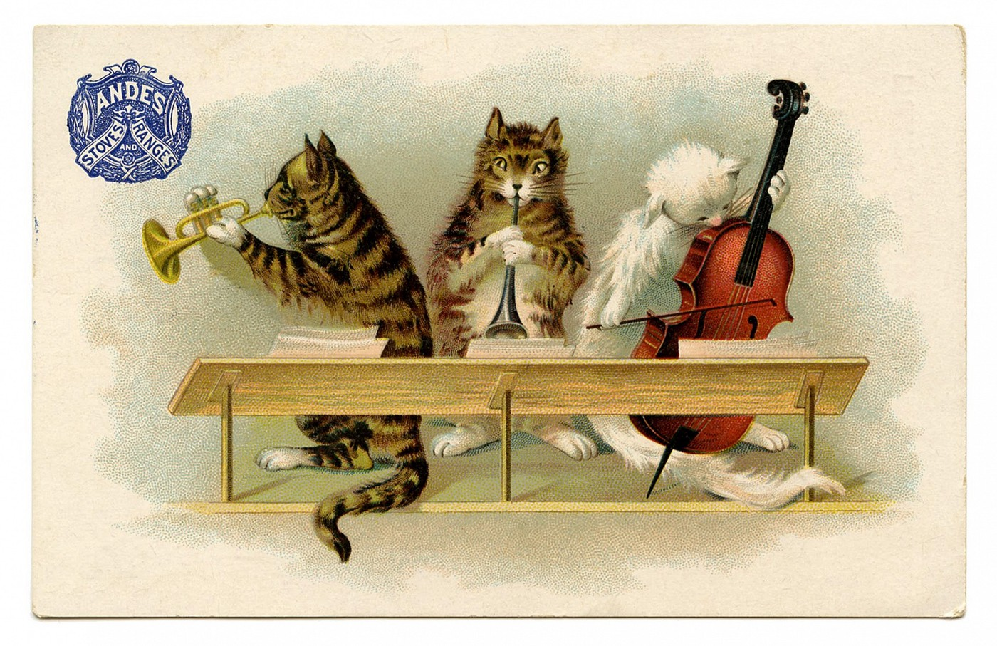 vintage illustration of cats playing musical instruments to sheet music