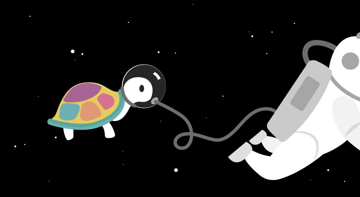 A turtle floating in outerspace