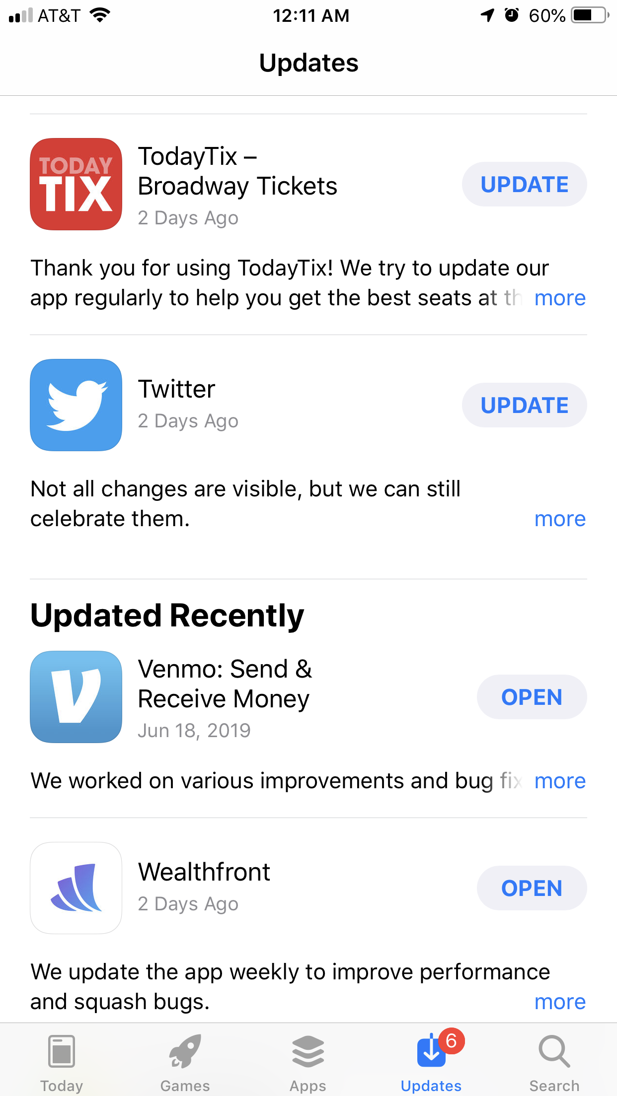 A screenshot of the update notes for various apps. Twitter: Not all changes are visible, but we can still celebrate them.