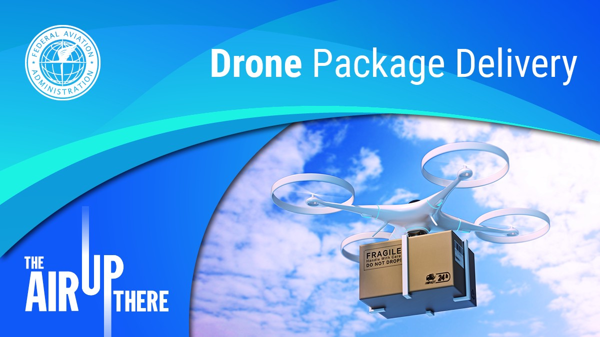 Episode cover art; blue graphic shapes surround a picture of a drone carrying a package. The episode title is Drone Package Delivery.