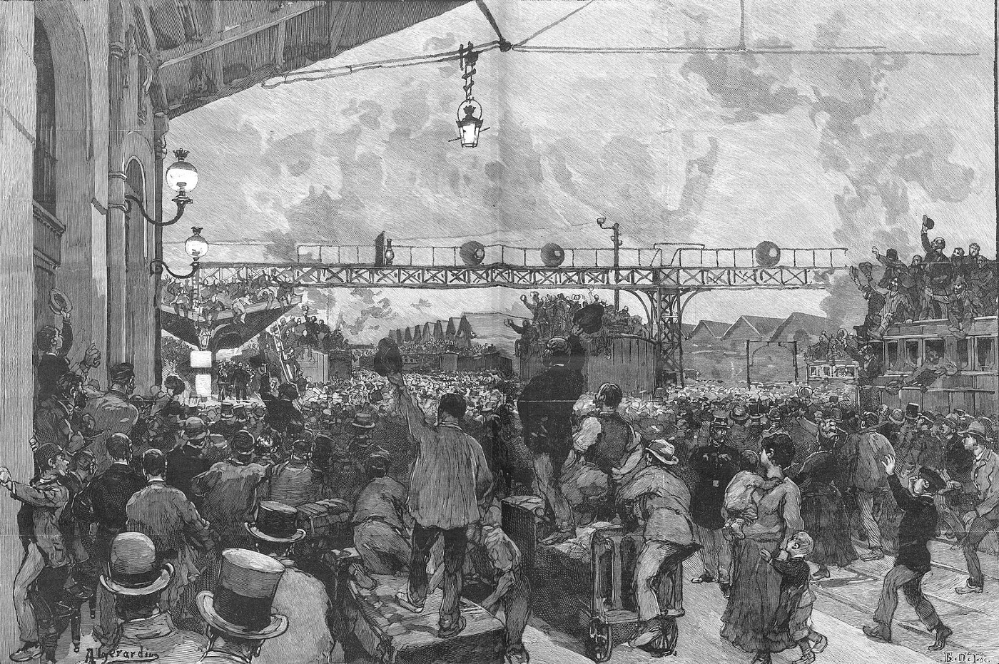 A black-and-white painting from 1887 shows a crowd waving farewell to General Boulanger from Gare de Lyon in Paris.