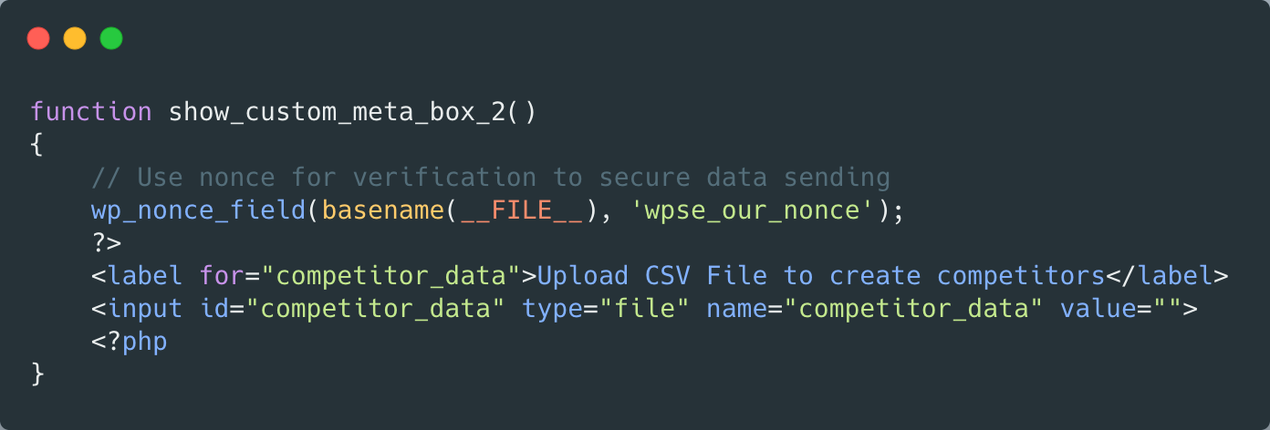 A snippet of code which shows adding an input to a metabox—full copyable code at the end of the article