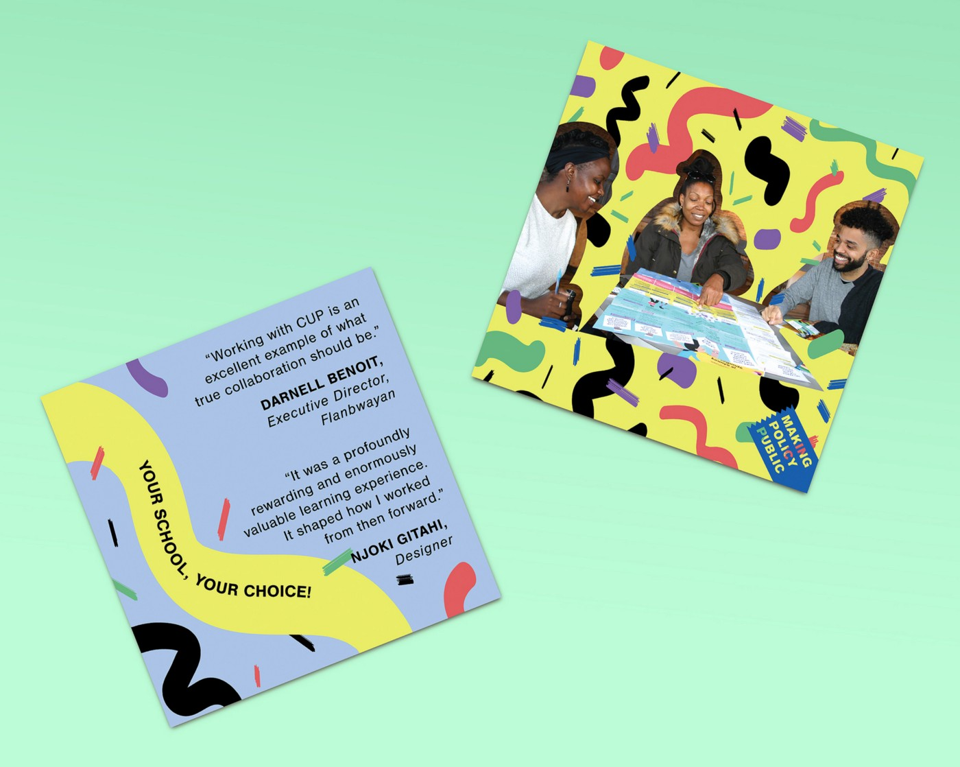 Two designed pieces, one with black text on a pale blue background, and the other with three Black people sitting around a large sheet of paper. Both pieces have abstract yellow, black, red, and green shapes in the background, and both pieces are superimposed on a light green background.