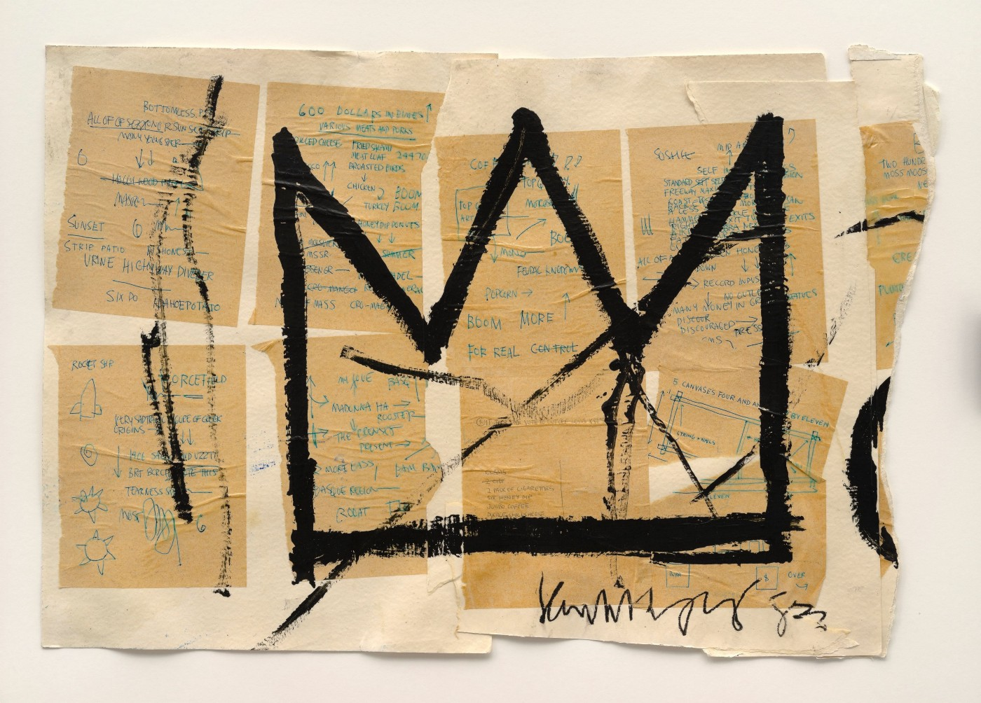 Sketch of a black crown by the artist Basquiat with old pieces of paper attached behind it