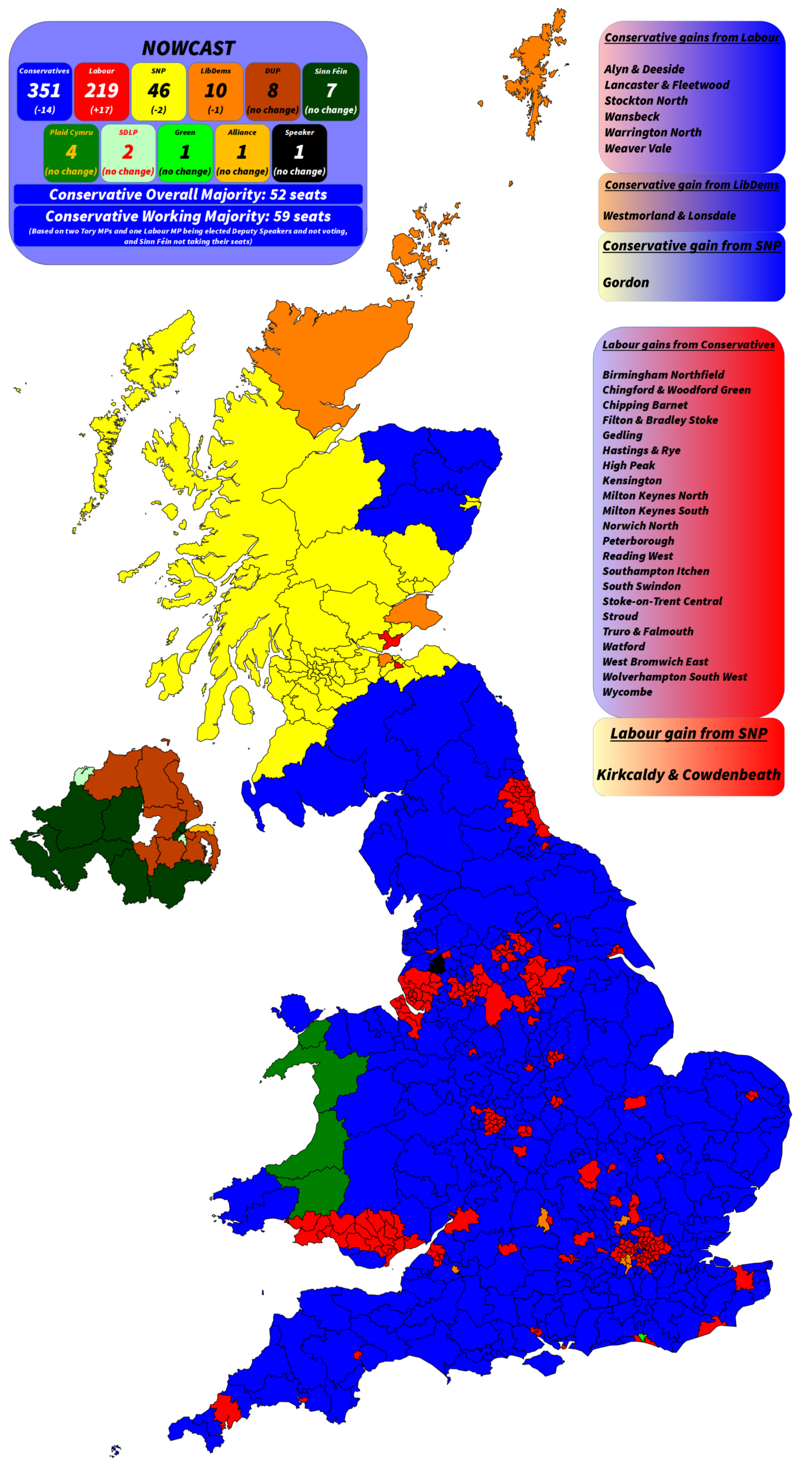 General Election Nowwcast—showing the Conservatives winning 351 seats, Labour winning 219, and the SNP 46.