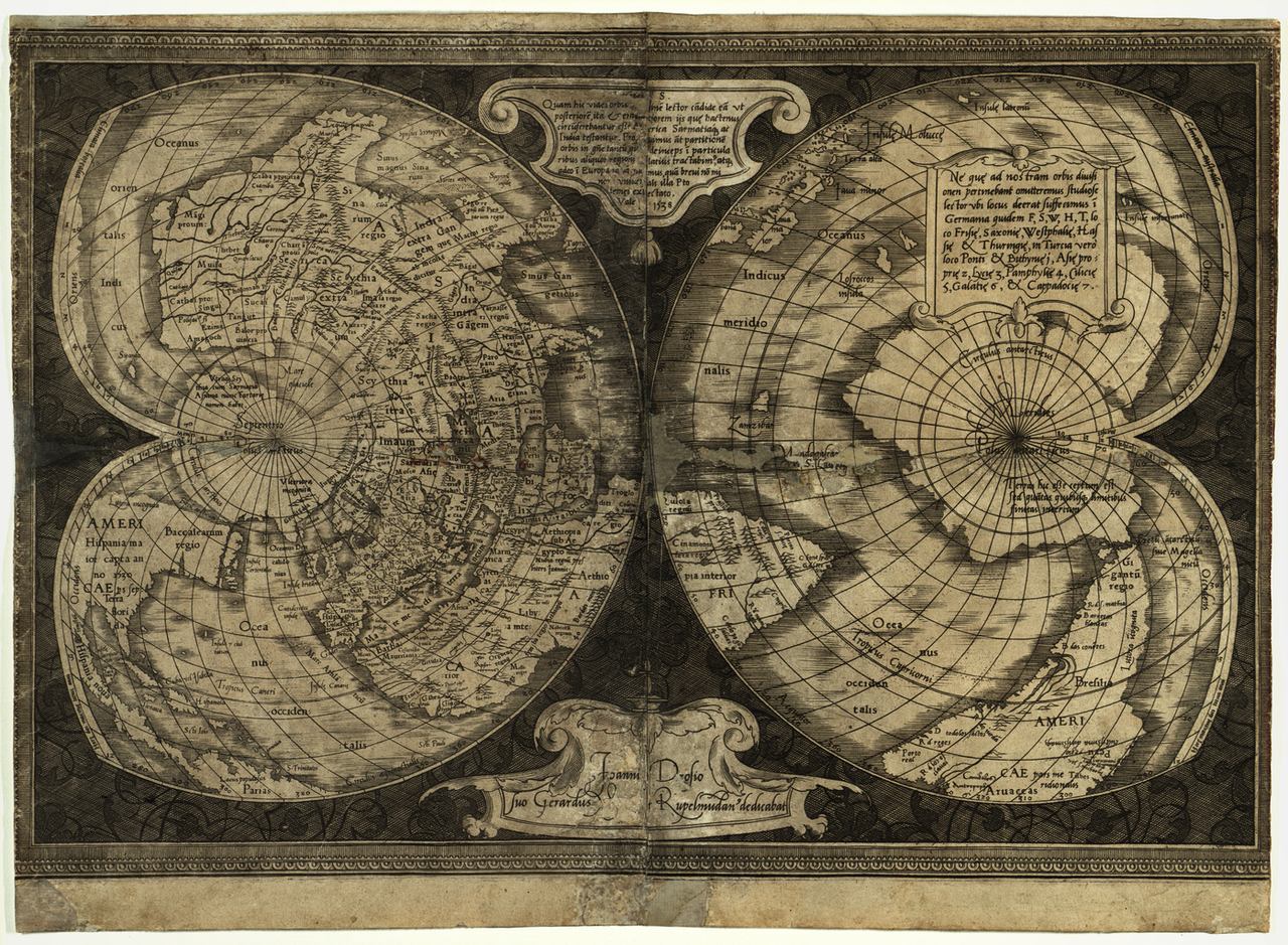 An antique world map projection with the shape similar to two hearts, their bottoms meeting at the center of the map. The left heart portrays the northern hemisphere as seen from above, while the right heart portrays the southern hemisphere as seen from below.