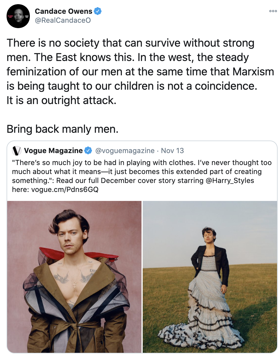 A tweet by Candace Owens (embedded below) showing two photos of Harry Styles posing in dresses.