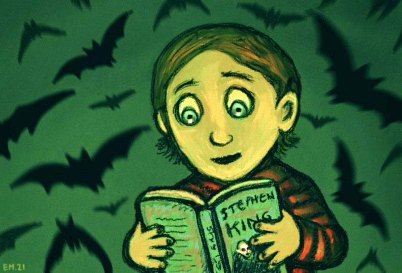 A young boy reading a Stephen King novel, with bats swarming behind him.