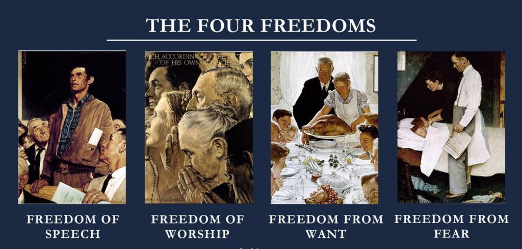 Reproductions of Norman Rockwell's paintings illustrating the Four Freedoms