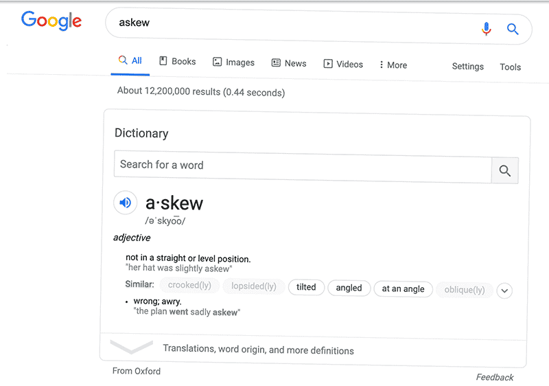 """Image of Google's """"askew"""" easter egg, one of many on their site"""