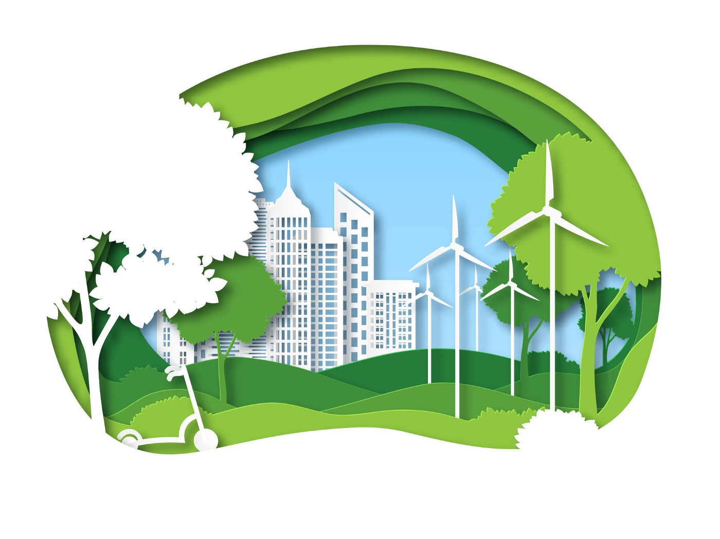 Eco city: Future ecosystem with building, tree and windmill.