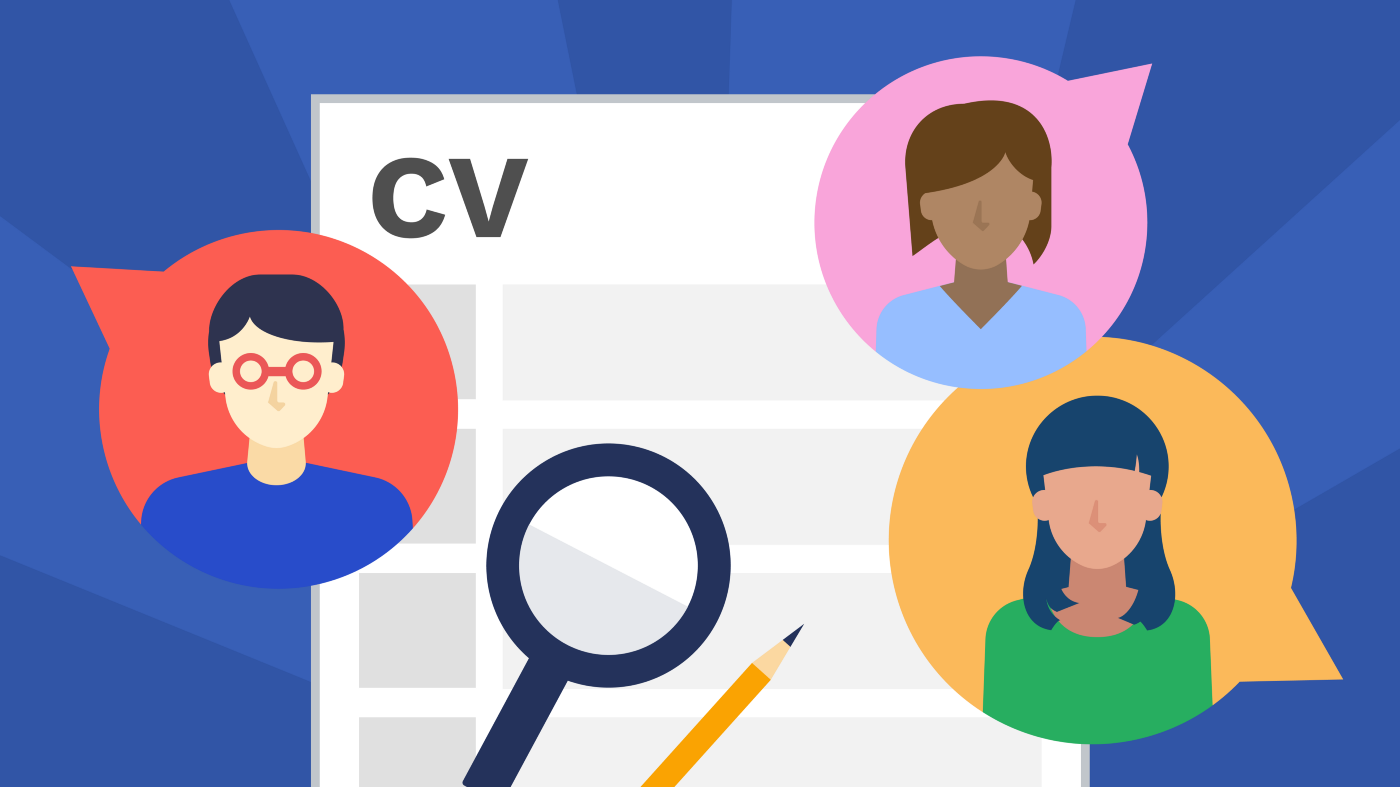 """This is an illustration designed by Tina Qi. There is an image of a sheet of paper that says """"CV"""" (curriculum vitae) at the top. Over the sheet of paper are three illustrations of people, a magnifying glass and a pencil."""