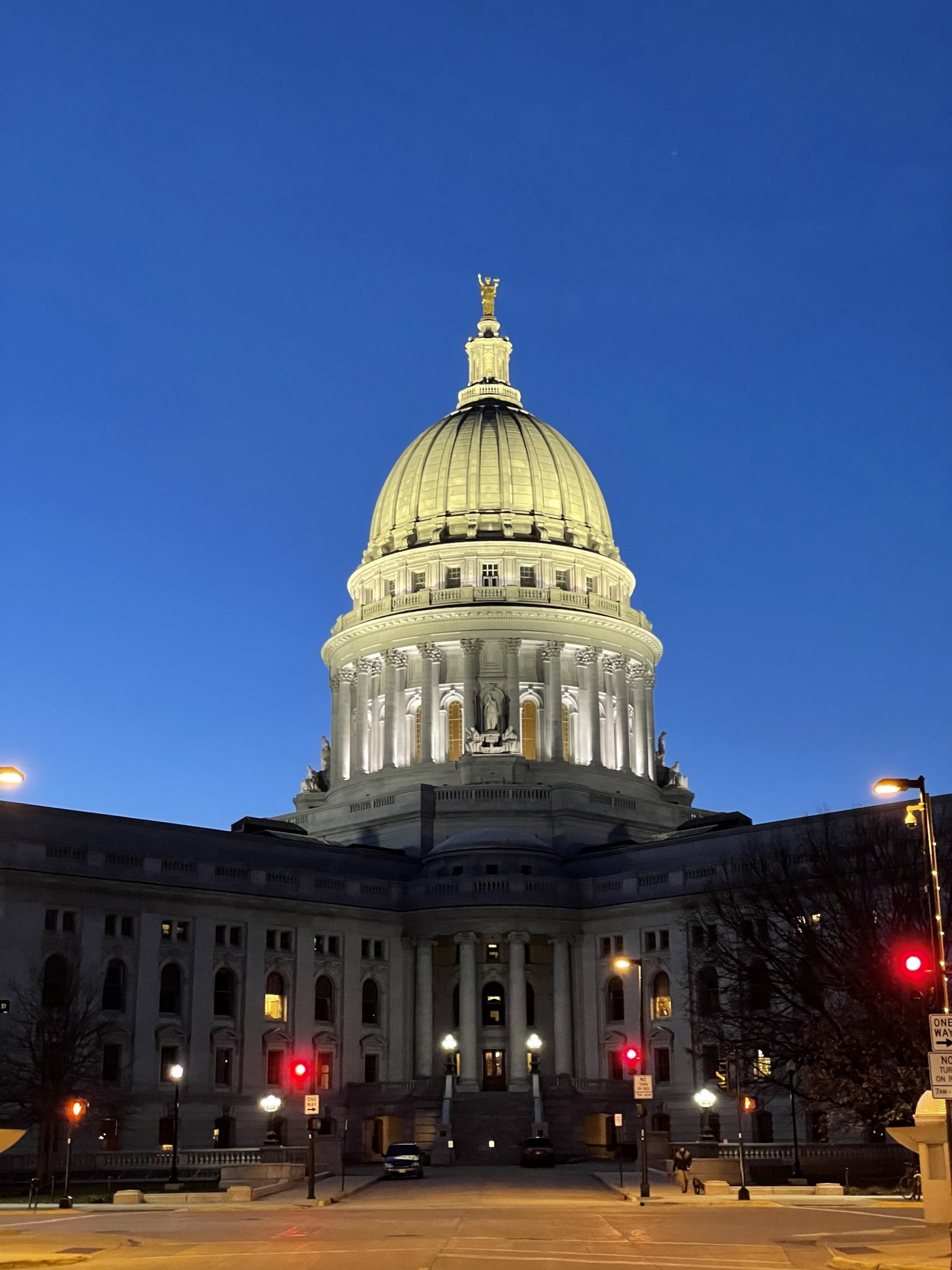 The Wisconsin state capital at night.