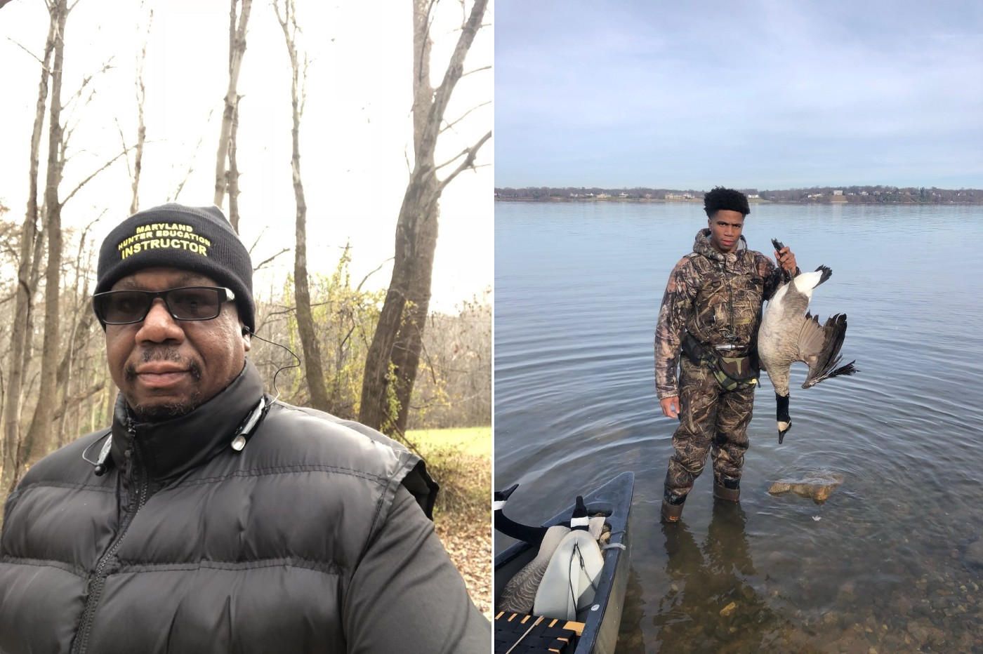 Left: man in black vest, knit cap that says Maryland Hunter Education Instructor. Right: Young man in water w/ goose