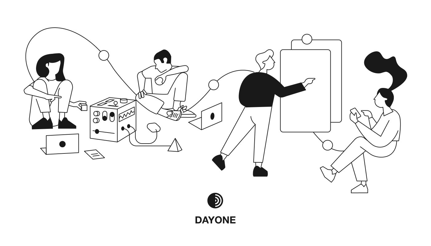 Illustration of the work process of designers and strategists