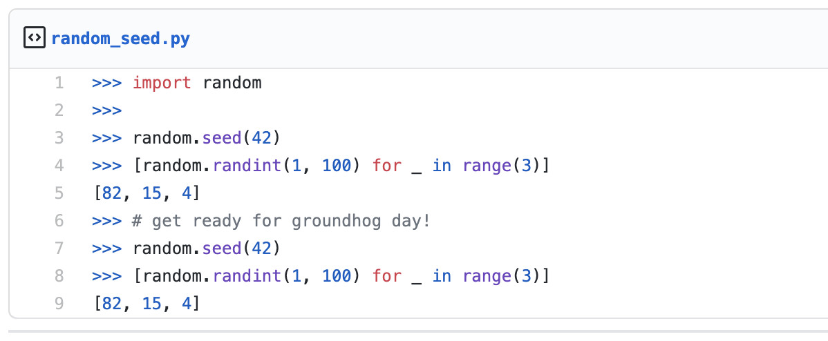 Python code showing that using the same seed value gives the same random numbers