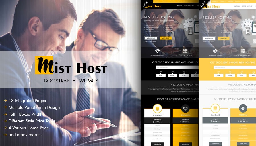 Mist Host WordPress Theme with WHMCS Order Form Templates