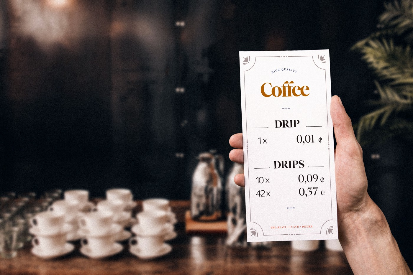 A menu from a coffee bar. One drip of coffee for 0,01ct. 10 drips for 0,09ct.