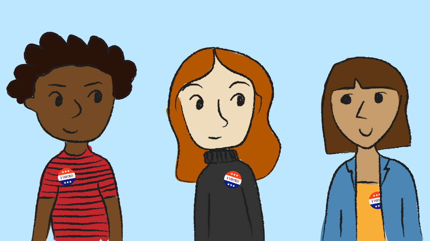 Illustration of three young voters by Sara Schleede and graphic by Josh Magpantay.