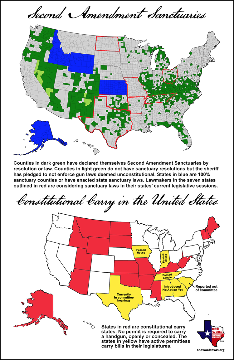 Chart with maps of the United States showing the extent of Second Amendment sanctuaries and the growth of constitutional carry.