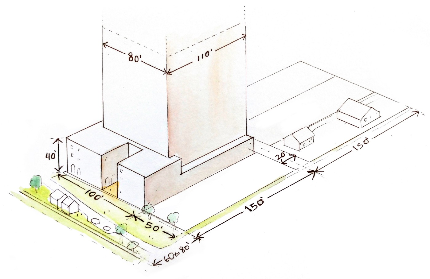 Isometric drawing of a 80'x110' wide tall building built at the rear of a 100x150 lot. There is a street in front with a landscaped plaza and tiny houses and driveway, and in the back a 20' alley