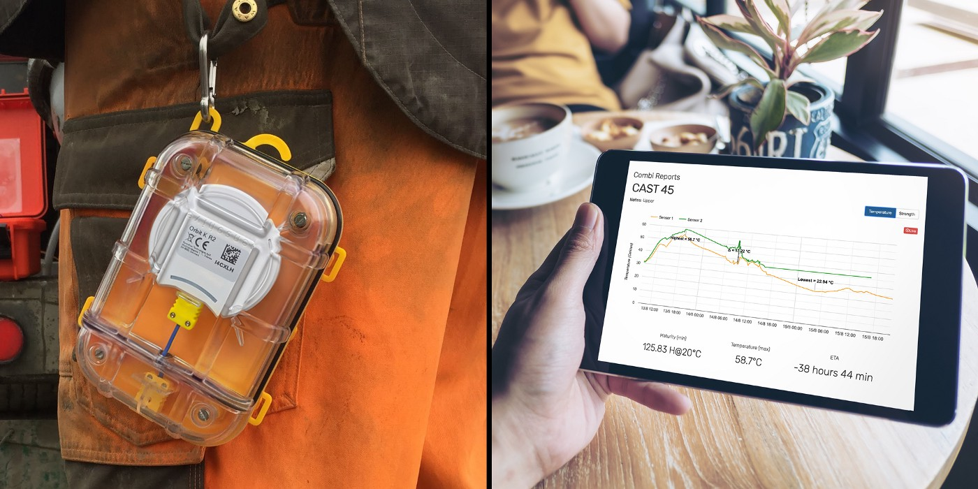 On the left side, there's an image of a Maturix Sensor hanging from a construction worker's belt, and on the right, there is a tablet being held by someone that shows the maturity method data the sensor supplies.