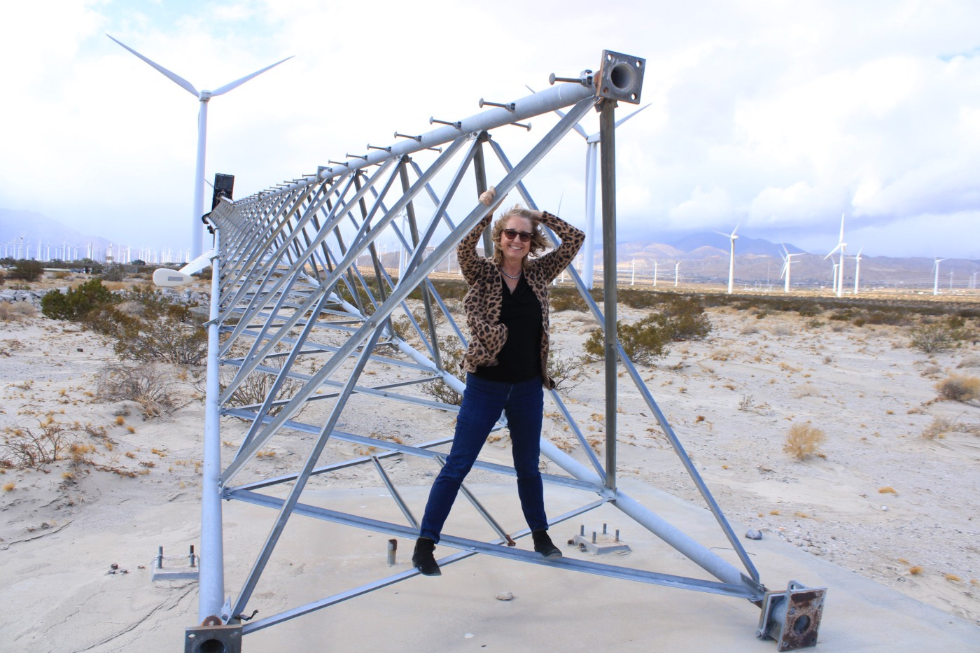 Image of author standing in triangular-shaped stand for windmill