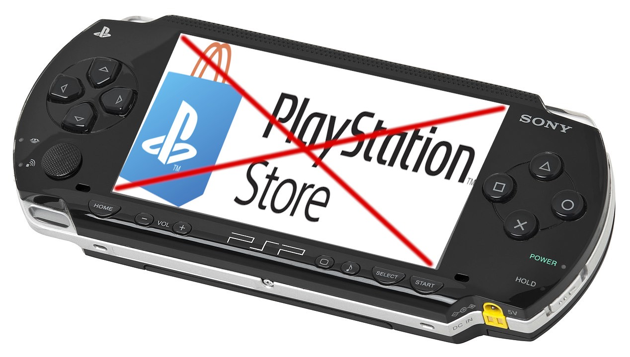 An image of a Sony Playstation Portable console, with a mockup of the Playstation Store logo shown on the screen, and a large red X across it.