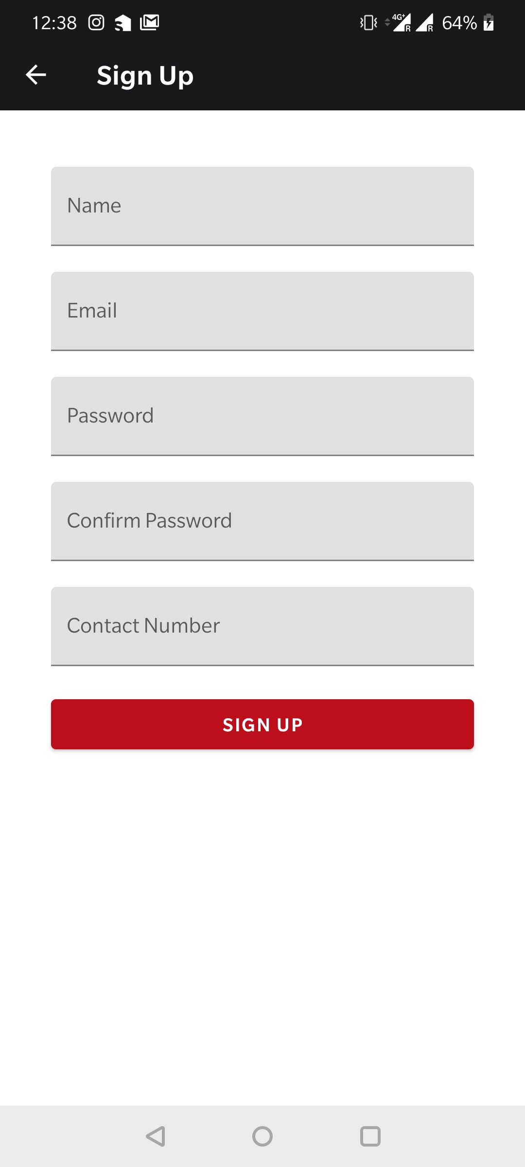 Sign Up Screen