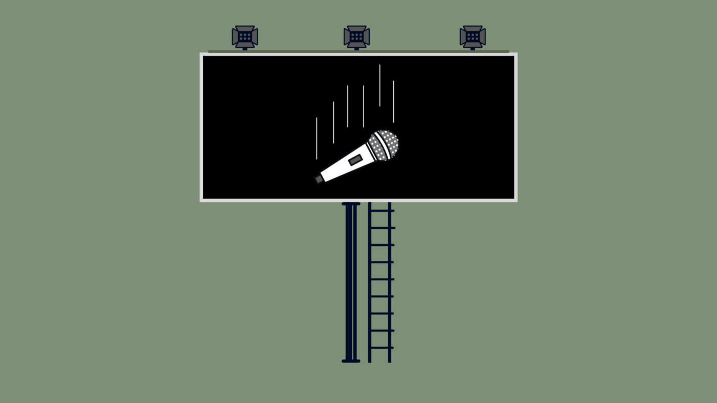 Graphic of a billboard depicting a falling mic by Maggie Chirdo.
