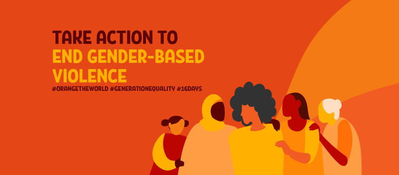 """Image with women and title """"Take action to End Gender-Based Violence"""""""