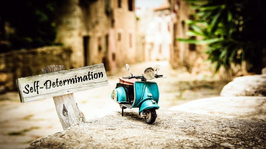 """A mini motorbike is parked by a wooden sign reading """"self-determination"""" on the roadside of a quaint village."""