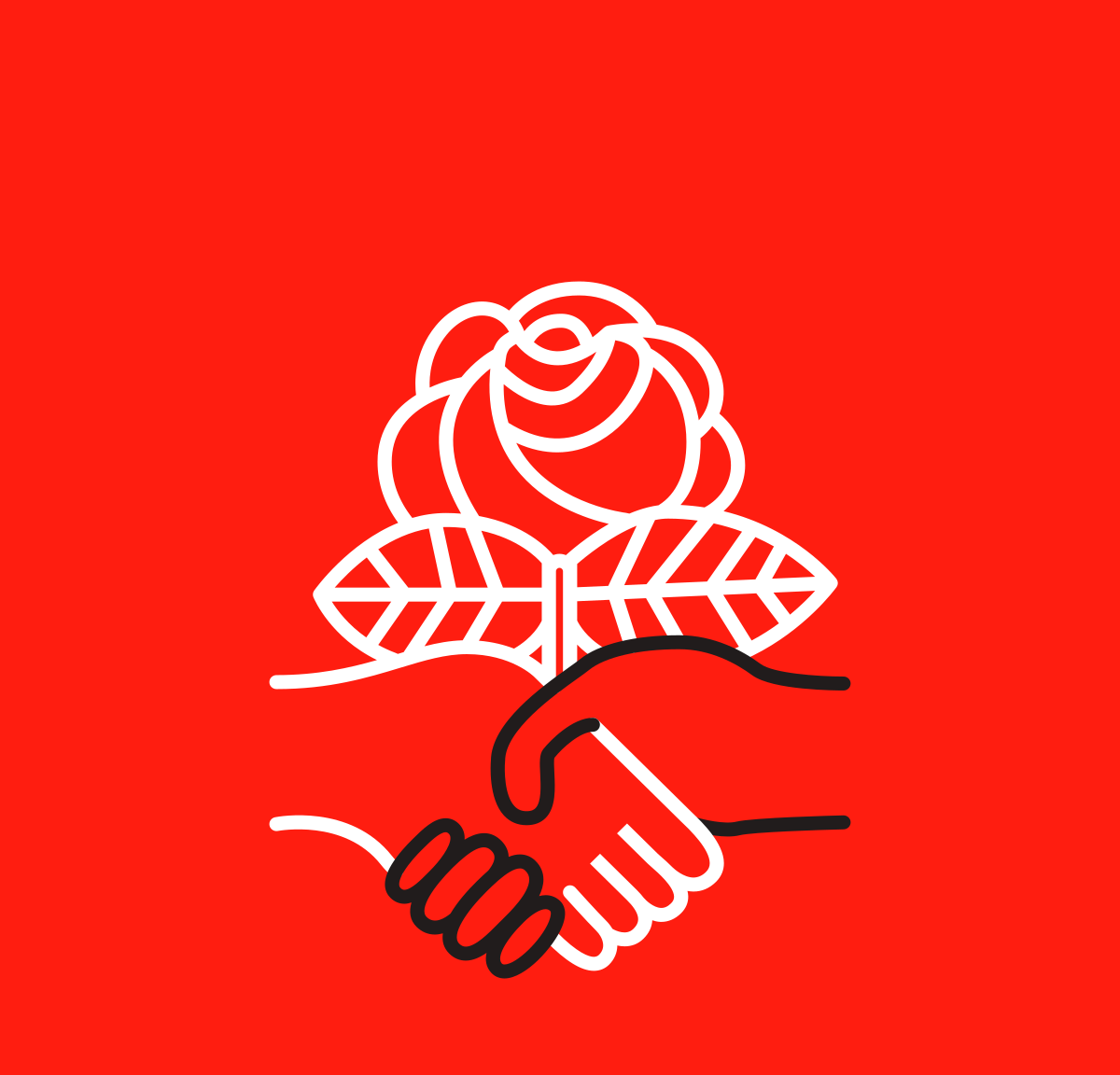 Logo of the Democratic Socialists of America, outline of hands shaking against a rose