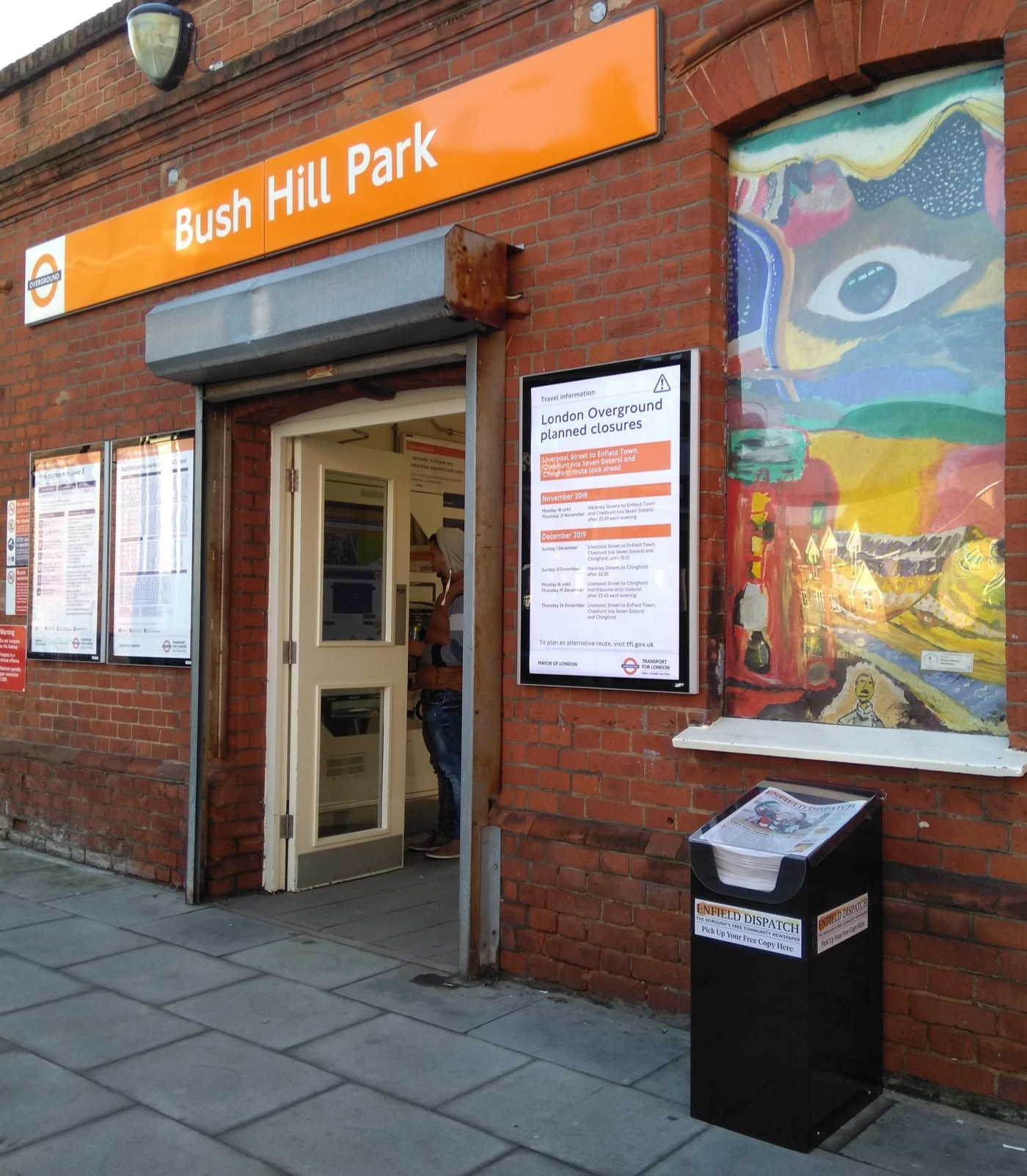 Picture of Enfield Dispatch newsstand outside Bush Hill Park London Overground station